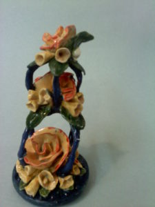 Orange rose compliments Ceramic Paper clay mixed-media