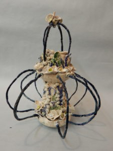 Whirling Sea Basket Stoneware mixed media